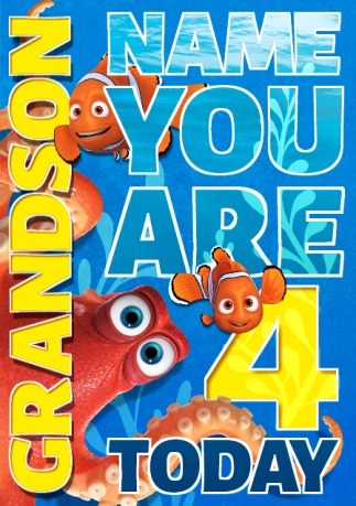 Finding Dory Birthday Card Grandson Youre 4 Funky Pigeon