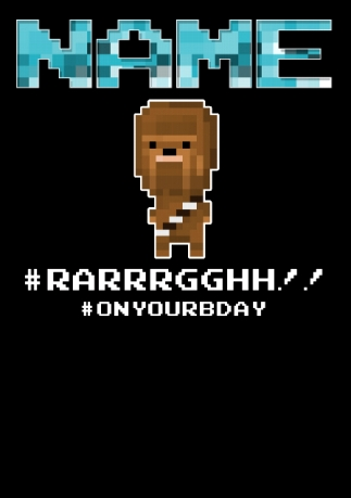 Chewbacca 8 Bit Birthday Card Funky Pigeon
