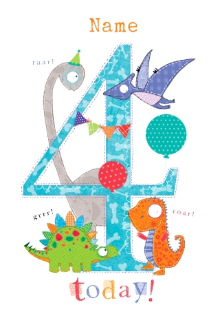 Abacus Four Year Old Birthday Card Dinosaur Party Four Today