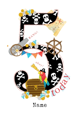 Abacus Five Year Old Birthday Card Pirate Birthday 5 Today Funky