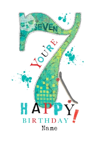 Abacus Seven Year Old Birthday Card Happy 7th Birthday Funky Pigeon