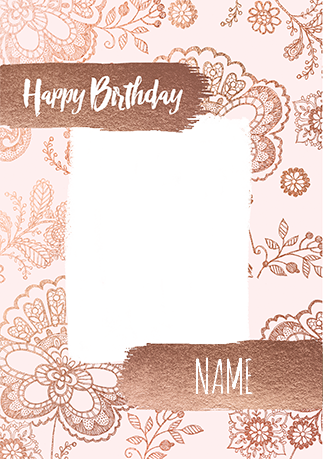 Rose Gold Photo Birthday Card