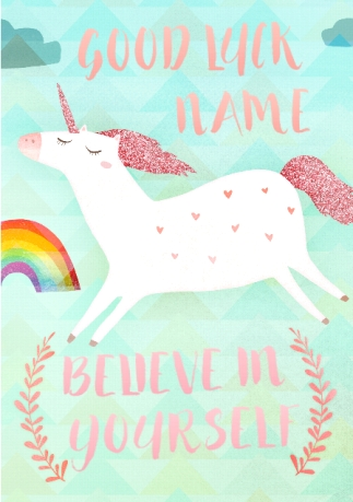 Good luck exam cards funky pigeon unicorn good luck card believe in yourself no preview image is not found m4hsunfo