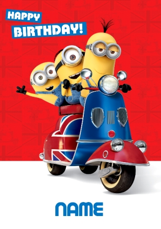 Minions Scooter Happy Birthday Card Funky Pigeon