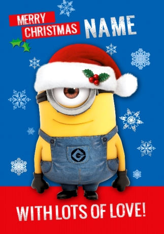 Minions Christmas.Christmas Minion With Lots Of Love Personalised Card