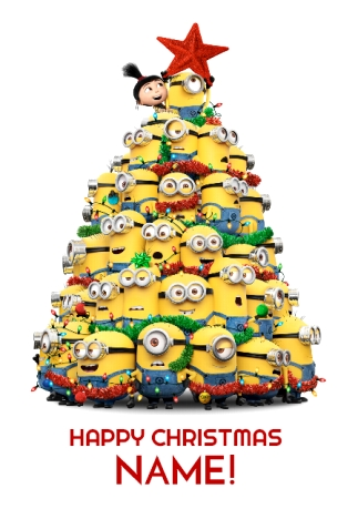 Minions Christmas.Minions Christmas Tree Personalised Card