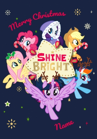 My Little Pony Christmas.My Little Pony Shine Bright Personalised Christmas Card