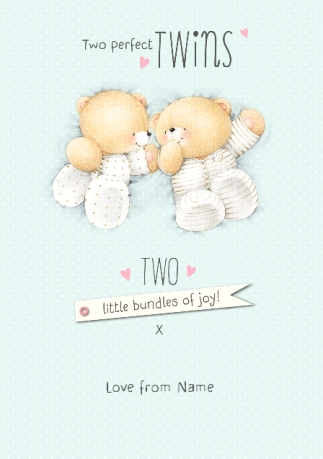 Forever friends new baby twins card