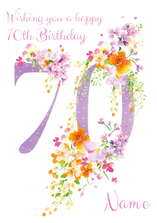 70th birthday card floral adornment funky pigeon