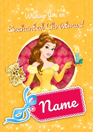 A Princess For Christmas Poster.Belle Christmas Card Disney Princess