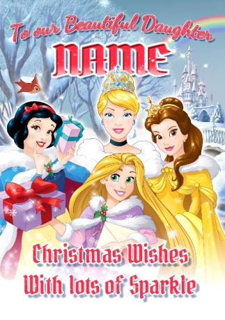 A Princess For Christmas Poster.Disney Princess Daughter Christmas Card
