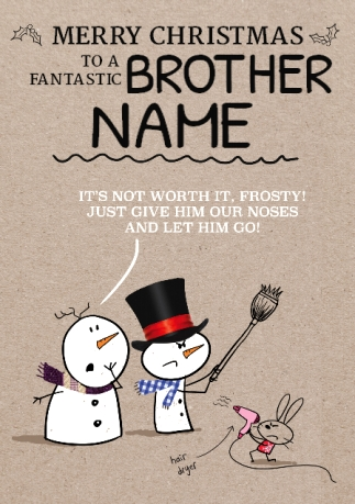 Merry Christmas Brother.Brother Christmas Card Carrot Noses Sprout Quitting Hollywood