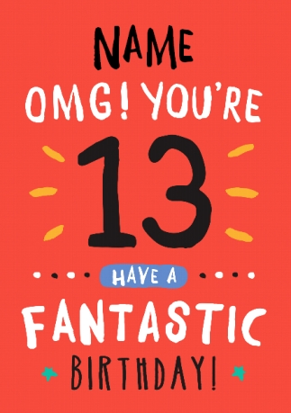 13th birthday card 13 today orange rock paper awesome funky pigeon 13th birthday card 13 today orange rock paper awesome bookmarktalkfo Image collections