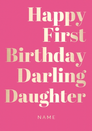 Shine Bright 1st Birthday Card Darling Daughter Funky Pigeon