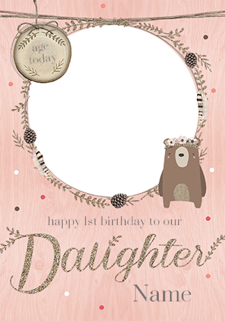 Woodland Wonder Daughter 1st Birthday Card