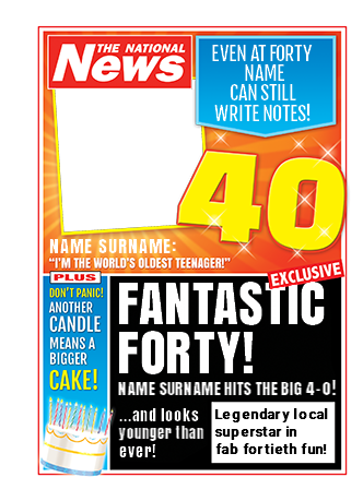 Funny 40th Birthday Personalised Newspaper Notebook