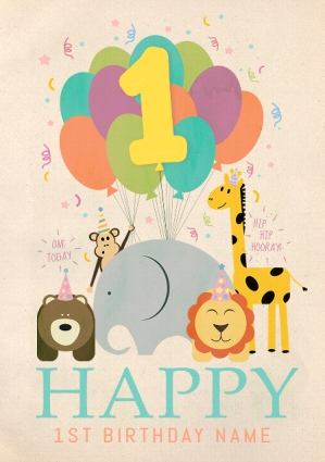 Happy 1st Birthday Personalised Poster Funky Pigeon