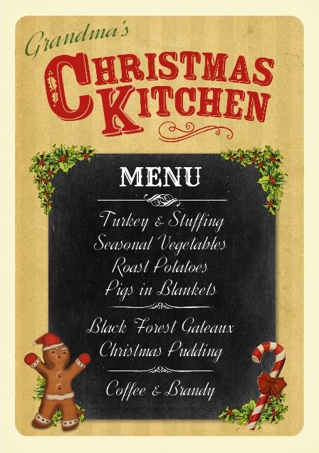 Fine and Dandy Christmas Kitchen Poster